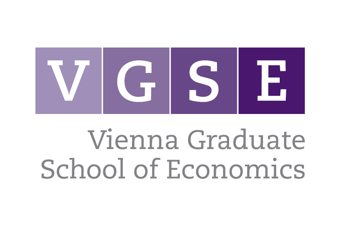 The logo of VGSE, the Vienna Graduate School of Economics. The letters V G S E each appear on a square. Each square has a different shade of purple. Below the square it says Vienna Graduate School of Economics.